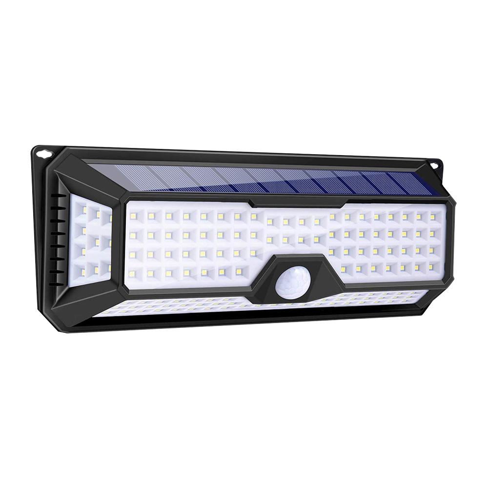 136 LED d'extérieur, 3 modes d'éclairage intelligents en option Lumière de capteur de mouvement solaire, veilleuses de sécurité à activation automatique sans fil pour jardin, patio, cour, allée, allée et garage