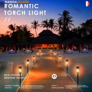 96 LED lampe solaire à flamme scintillante étanche jardin paysage pelouse lampe chemin éclairage torche projecteur extérieur (1)