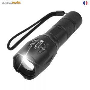 Lampe Torche LED Zoom , 2000 Lumens Lampe Torche LED Ultra Puissante, 5 Modes d'éclairage IMPERMEABLE Torche Idéal pour les Activités Extérieurs (1 * 18650 piles)
